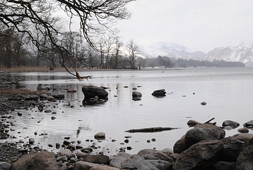 Ullswater near Pooley Bridge on a wintry Match day - Cumbria
